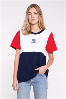 ACTIVE PANEL TEE CREST WHITE RED BLUE-womens-BONEYARD // PUKEKOHE - HOME