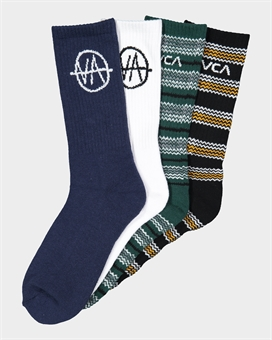 RVCA ALLSORTS SOCK 4PACK ASSORTED-mens--BONEYARD // PUKEKOHE - HOME