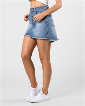 TOMORROW BUTTON UP DENIM SKIRT-womens-BONEYARD // PUKEKOHE - HOME
