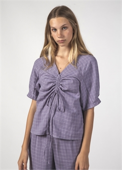 FLUSTER TOP LAVENDER GRID-womens-BONEYARD // PUKEKOHE - HOME