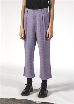 VINCENT PANT LAVENDER GRID-womens-BONEYARD // PUKEKOHE - HOME